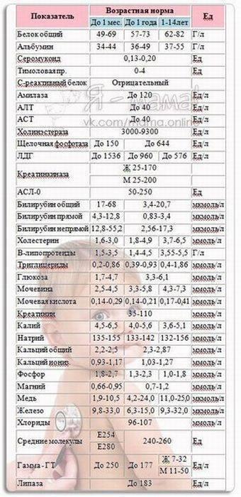 Биохимический анализ крови у детей, его расшифровка в таблице