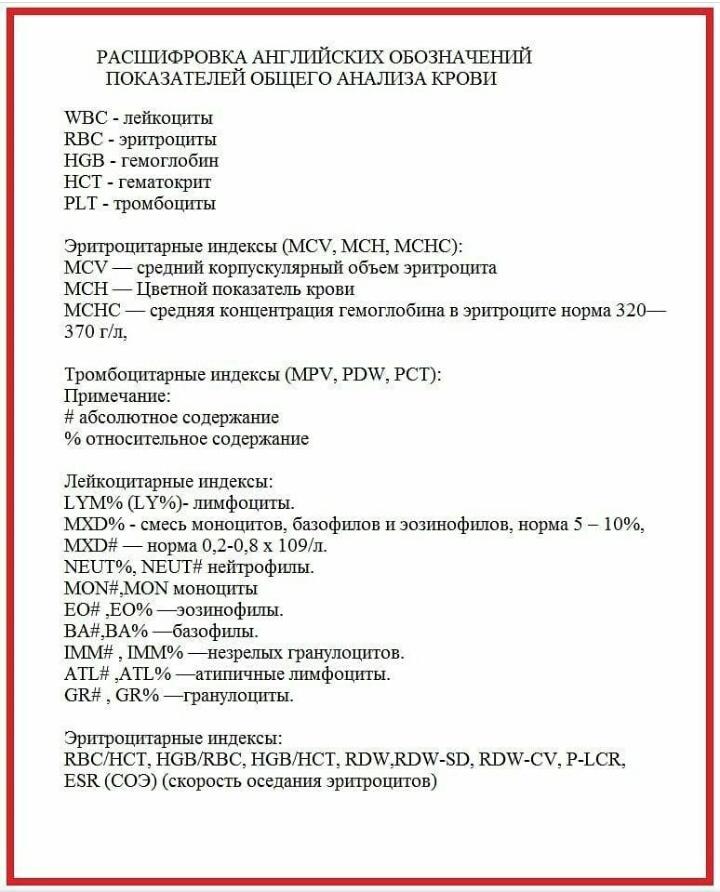 Таблица показателей биохимического анализа крови для детей норма