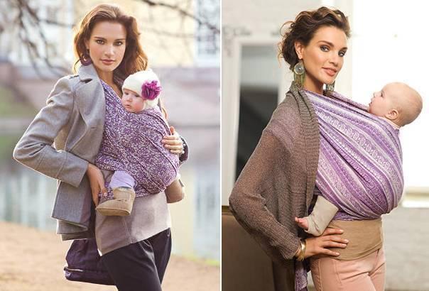 Слинг с кольцами или слинг шарф —намотка для новорожденных
