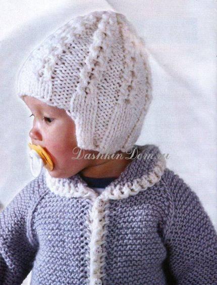 Шапочка для новорожденного мальчика и девочки. вязание спицами с описанием и схемами
