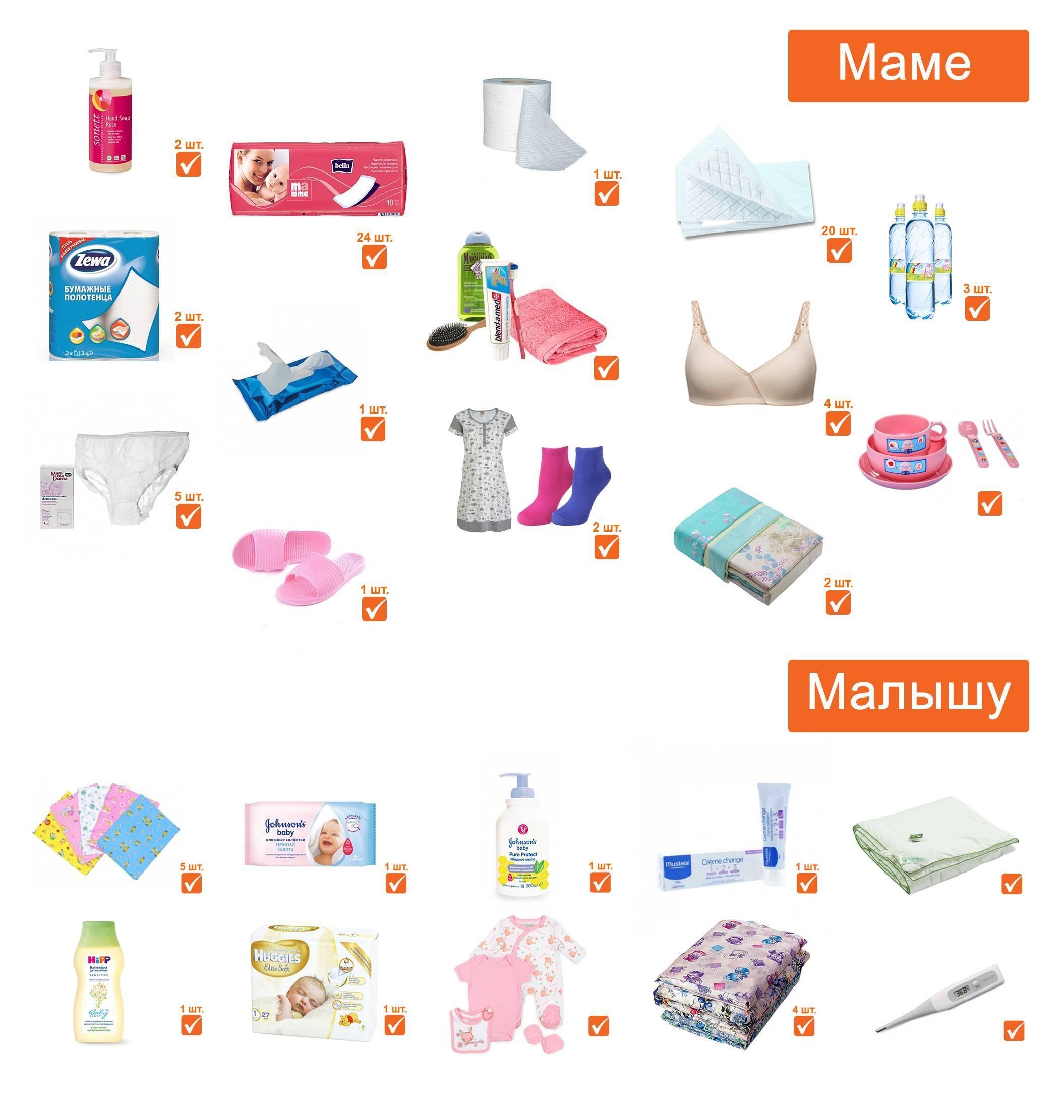 Что нужно взять с собой в роддом. список вещей в роддом